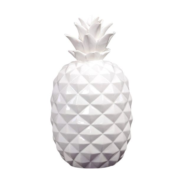 In the days of exploration, the pineapple symbolized hospitality and the safe return of ships. Let this ceramic pineapple provide warm welcome in your home. With its white geometric texture, it serves ...  Find the Pineapple Figurine, as seen in the 24 Hour Clearance Sale: Day 1 Collection at http://dotandbo.com/collections/presidents-day-weekend-sale-2016-decor-clearance-day-1?utm_source=pinterest&utm_medium=organic&db_sku=UTC0025