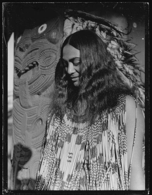 Matarita Smallman (nee Pitiroi) of Taupo, [1930s]  Portrait of Matarita Smallman (nee Pitiroi) of Taupo and Turangi, taken 1930s by Leo White.