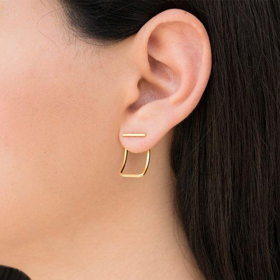 Gold ear jacket earring studs, gift gold stud earrings, front back earring jackets, ear cuff jackets, double sided earings,gold bar earrings