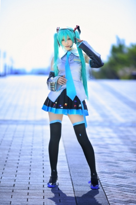 Hatsune Miku. This is a pretty nice cosplay outfit.