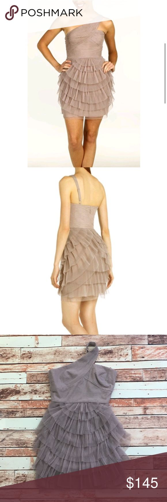 """NWOT bcbg maxazria ella pleated cocktail dress NWOT beautiful sepia colored pleated dress. adjustable strap. rubber along breast line for added stick and support. beautiful pleating. zipper in the back. perfect for a night out on the town.  armpit to armpit=16"""" length (excluding strap, just the body of the dress=28"""" BCBGMaxAzria Dresses Mini"""