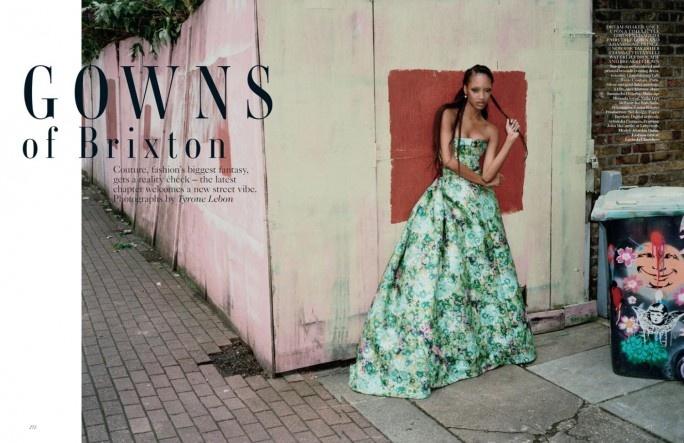 GOWNS of Brixton | Jourdan Dunn | Tyrone Lebon #photography | Vogue US October 2012: Jourdan Dunn, Uk October, Tyronelebon, Tyrone Lebon, October 2012, Jourdandunn, Vogue Uk, British Vogue, Vogue October