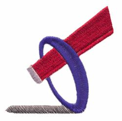 Ringette Stick and Ring embroidery design