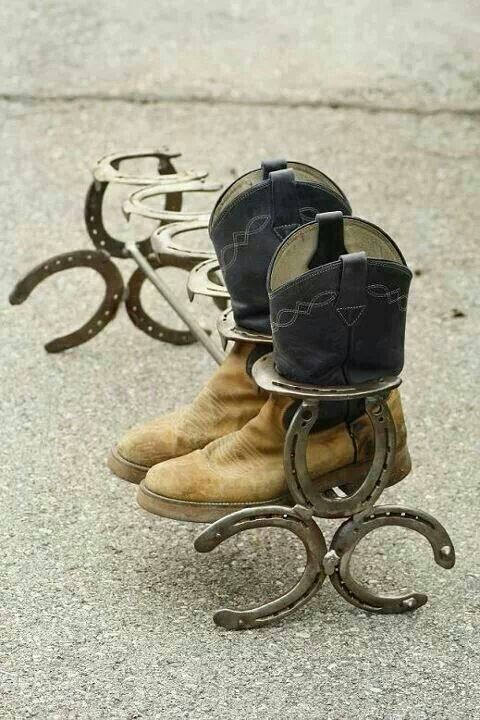 Horse shoe boot rack...would be perfect for all the boots... #weldingnewhobby
