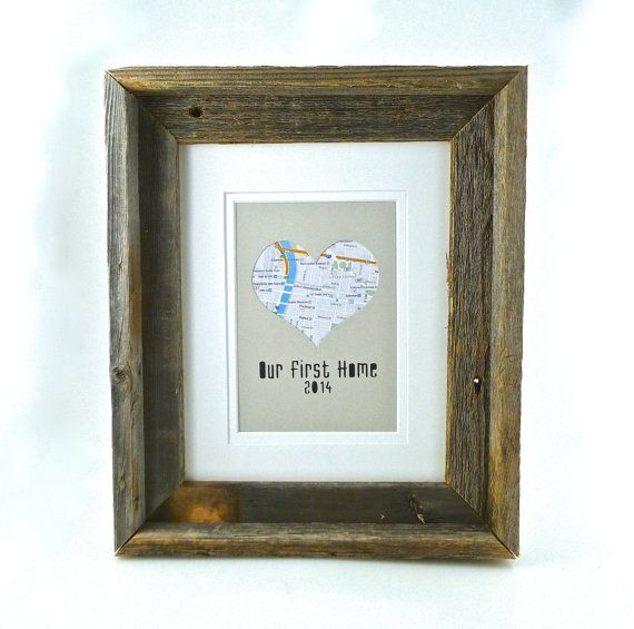 Personalized Framed Heart Map Gift In A