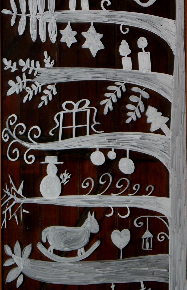 Sapin dessiné sur les vitres plume echevelee over blog
