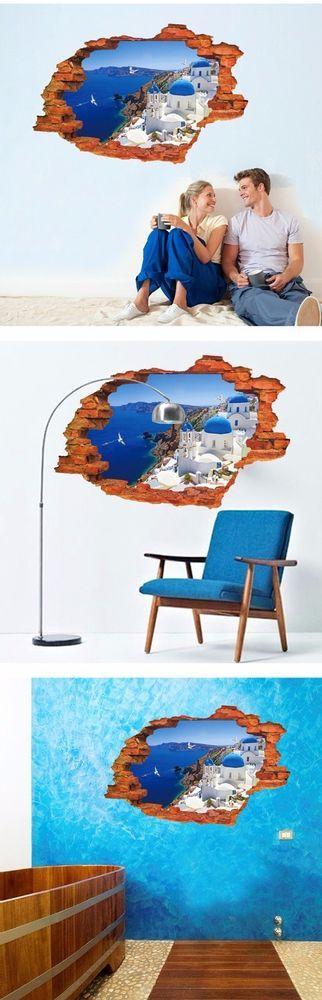 89*59cm City Landscape Wall Stickers 3D Window View PVC Wall Sticker  #Unbranded #ArtsCraftsMissionStyle
