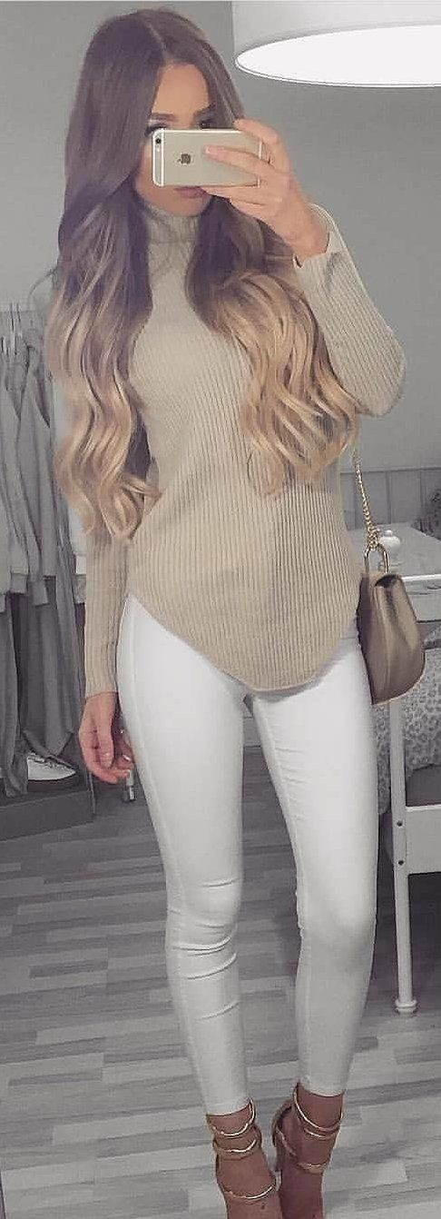 #winter #outfits grey corduroy sweater