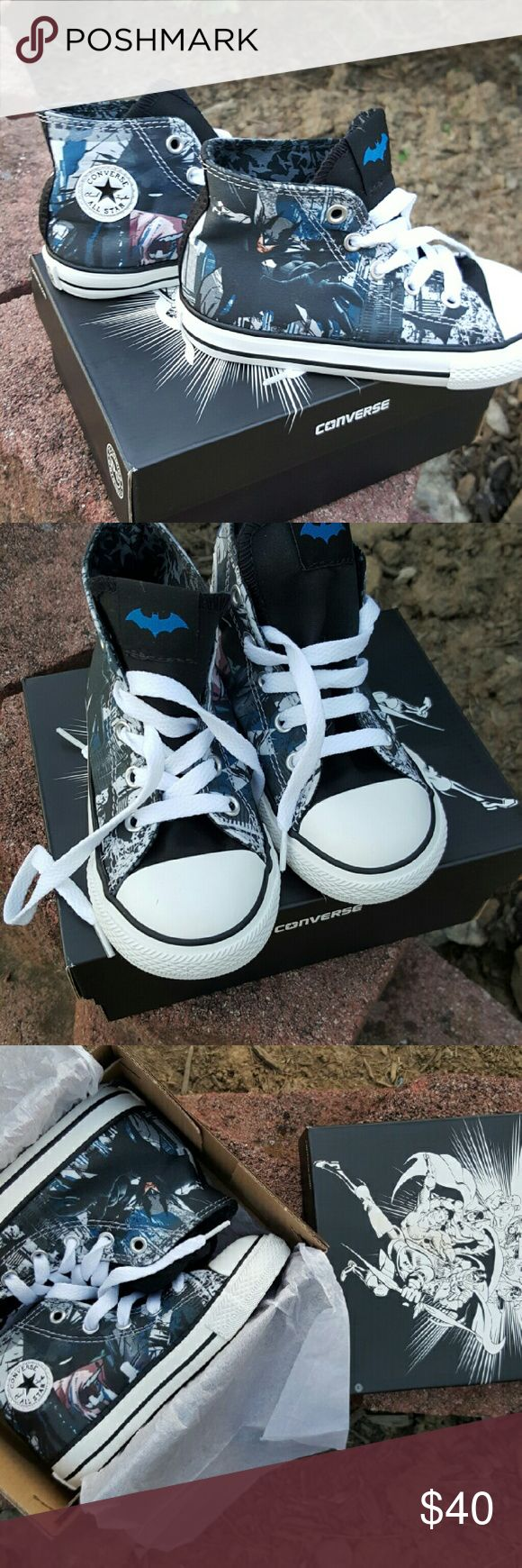 Toddlers Batman Converse size 8 Toddler size 8 Batman Converse. Brand New with box. Never had tags. Bought from Journeys ..   Collectors never worn. Paid 60. Asking 40 OBO. Comes with black or white shoe strings Converse Shoes Sneakers
