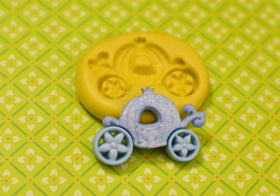 Fairy Tale Carriage Flexible Silicone Polymer Clay Soap Chocolate Fondant Push Mold - Food Grade 38x26mm