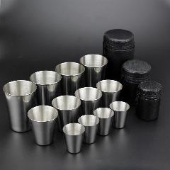 [ 44% OFF ] 15 Pieces ( 12 Cup 3 Bag ) Stainless Steel Cups 30Ml / 80Ml / 180Ml Outdoor Water Beer Cup Best Coffee Cup Mug Tea Mug