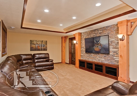 Basement home theater this traditional and rustic for Rustic finished basement