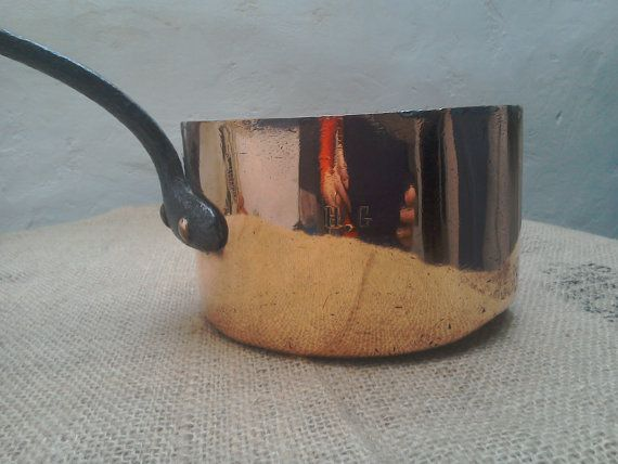 Vintage copper pot French handmade copper pot by FabFrench on Etsy
