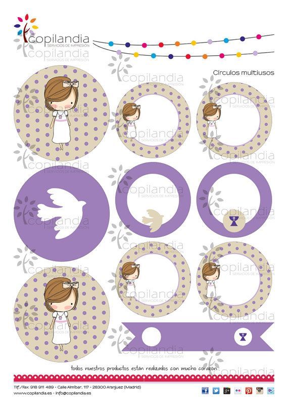 He encontrado este interesante anuncio de Etsy en https://www.etsy.com/es/listing/230168178/kit-imprimible-comunion-violeta