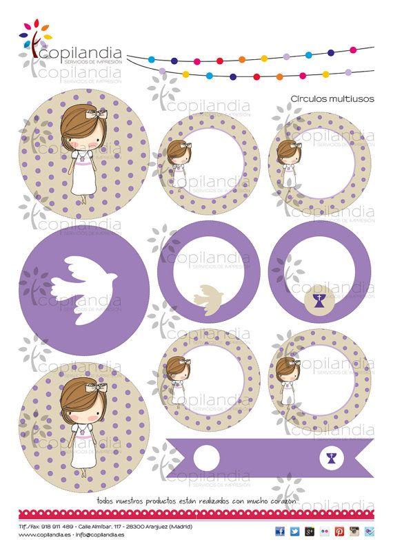 Kit Imprimible Comunion Violeta
