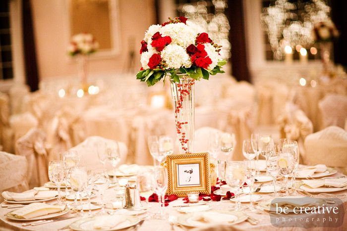 White And Gold With A Little Red Wedding Decorations