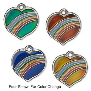 "Charm, acrylic and imitation rhodium-plated ""pewter"" (zinc-based alloy), multicolored, 20x19mm color-changing single-sided heart with rainbow design. Sold per pkg of 2."