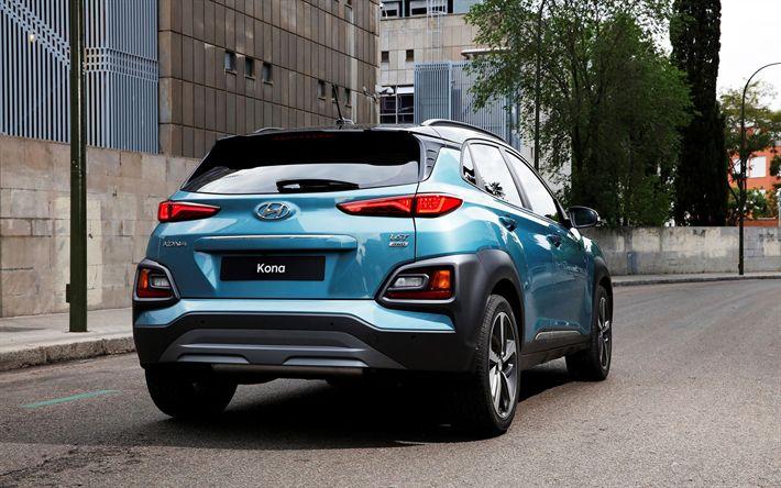 Descargar fondos de pantalla Hyundai Kona, 2018, El crossover Compacto, de color azul Kona, vista posterior, coches nuevos, coches coreanos de Hyundai