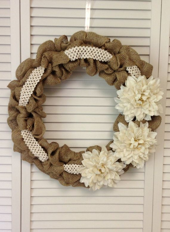 """18"""" Burlap Wreath with Burlap Flowers and Lace Ribbon"""