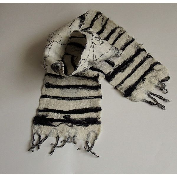 Wool black and white scarf, stripes, unisex textile accessory, felted,... ($69) via Polyvore featuring accessories, scarves, woolen scarves, striped shawl, wool shawl, zebra print scarves and wool scarves