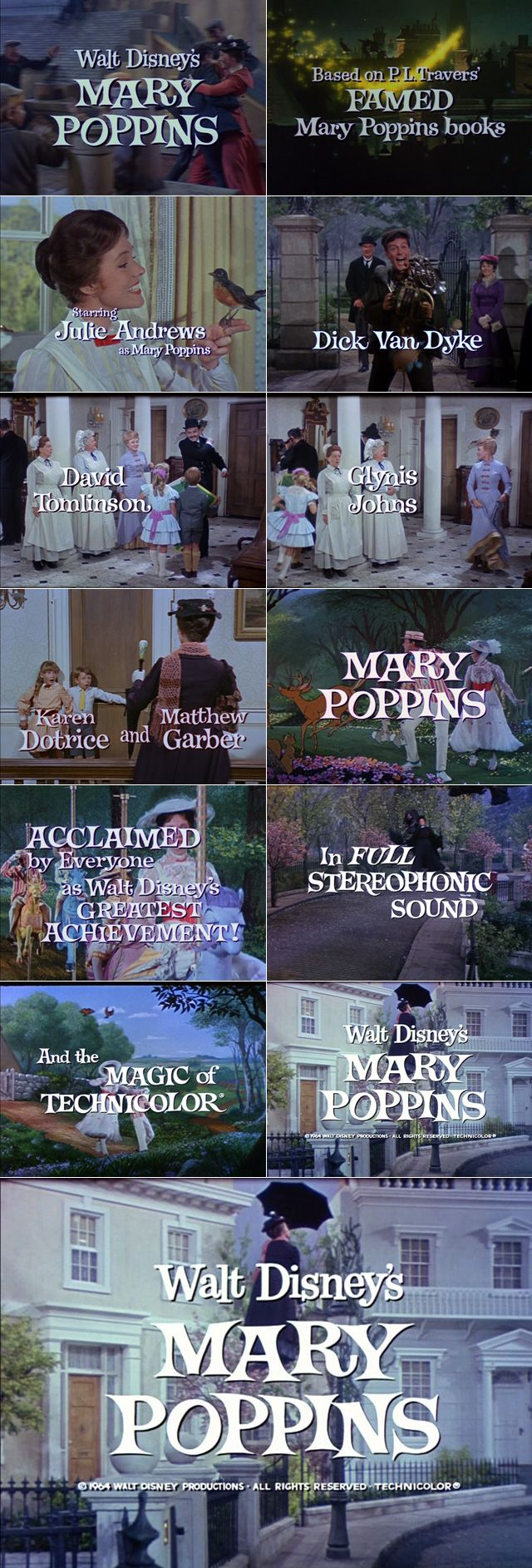 Mary Poppins (1964) trailer typography – the Movie title stills collection ✇ 'MARY POPPINS' (1964) directed by Robert Stevenson, starring Julie Andrews, Dick Van Dyke, David Tomlinson
