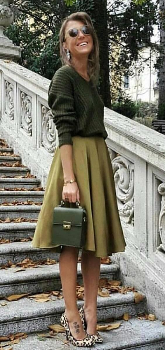 #winter #outfits green pleated midi skirt