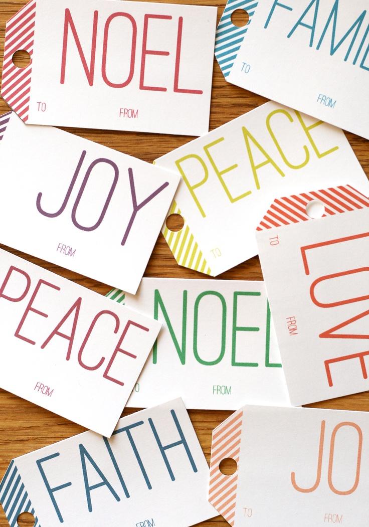 free printable bold Christmas gift tags