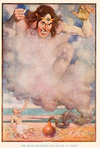 The Arabian nights (1913)  Illustrations by Monro S. Orr    The smoke collected and became an Afrite