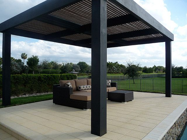 modern pergola custom built by outdoor kitchens living