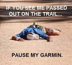 """Oh my! Situation not, but keeping light-hearted humor in mind? """"Pause my Garmin""""... hilarious!"""