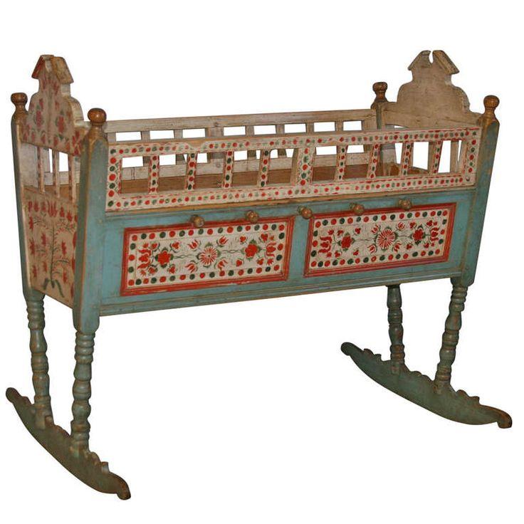 Antique Original Painted Baby Crib Bassinette Rocker, Circa 1850 - 77 Best Baby Beds & Cradles Images On Pinterest Baby Beds
