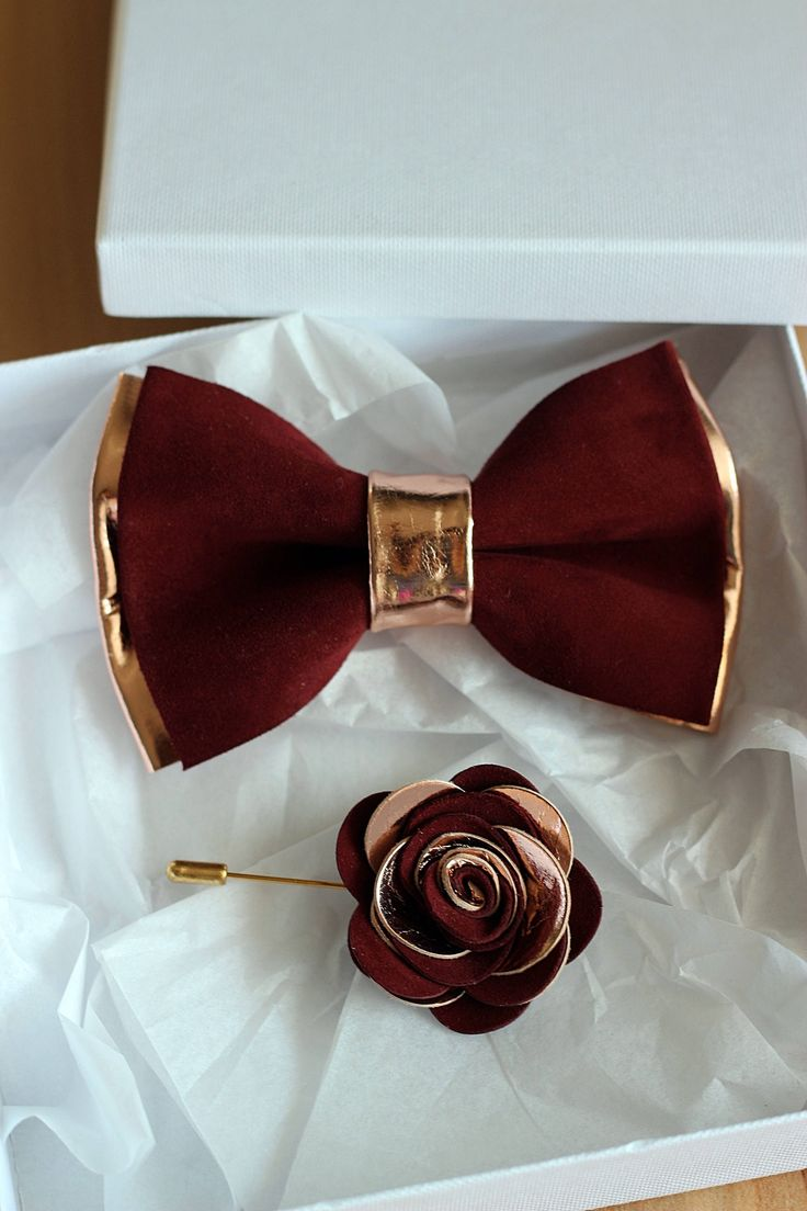 Rose Gold and burgundy leather bow tie for men, rose gold wedding bow tie,wedding burgundy boutonnere, genuine rose gold leahther bow tie by NevesticaLeather on Etsy