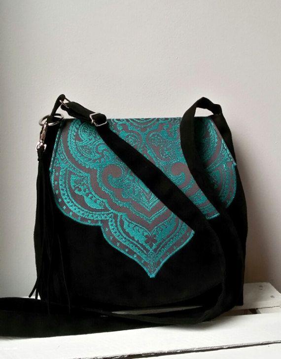 Black and turquoise boho bag Oriental bag Vegan bag Hippie bag Evening purse Medium size bag Sling crossbody bag Bohemian  bag Vegan bag
