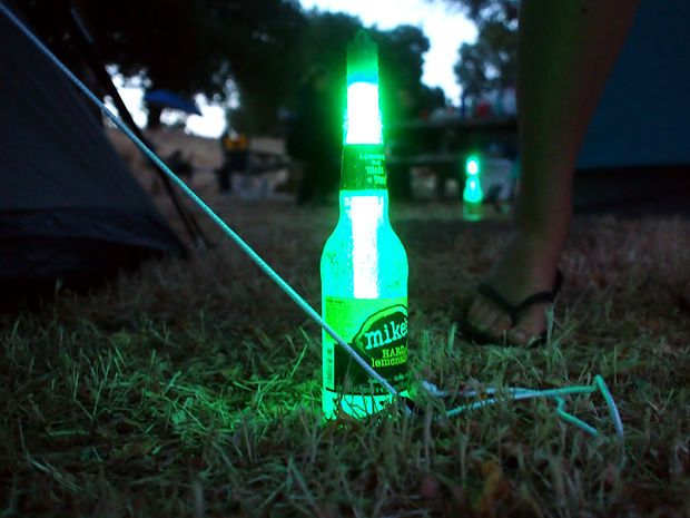 Tent stake markers. No more tripping over the tie lines and stakes.