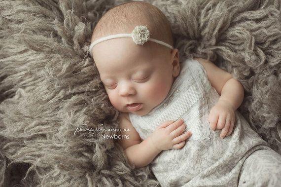 Newborn Romper & Tieback headband Newborn by LovelyBabyPhotoProps