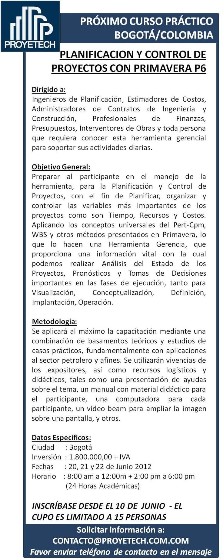 #BOGOTA #COLOMBIA CURSO DE PLANIFICACION Y CONTROL DE #PROYECTOS CON PRIMAVERA P6 BASICO