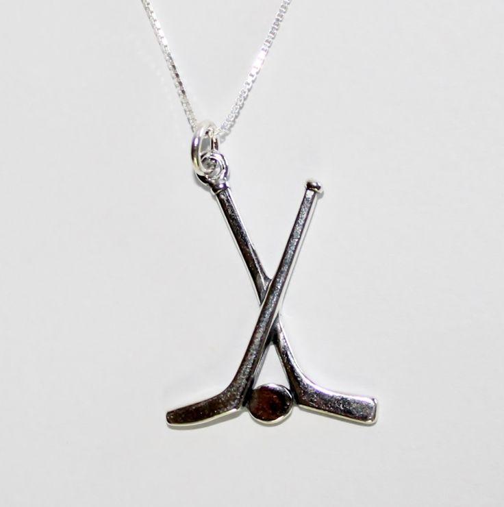 Sterling Silver Hockey Necklace ~ http://shoppingbuyfaith.com/sports-themed.html