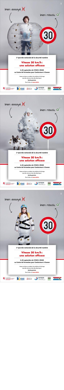 Annonceur : Ministère du Développement Durable et des Infrastructures Campagne : Vitesse 30 km/h: Une solution efficace Agence : 101Studios Publication : septembre 2016
