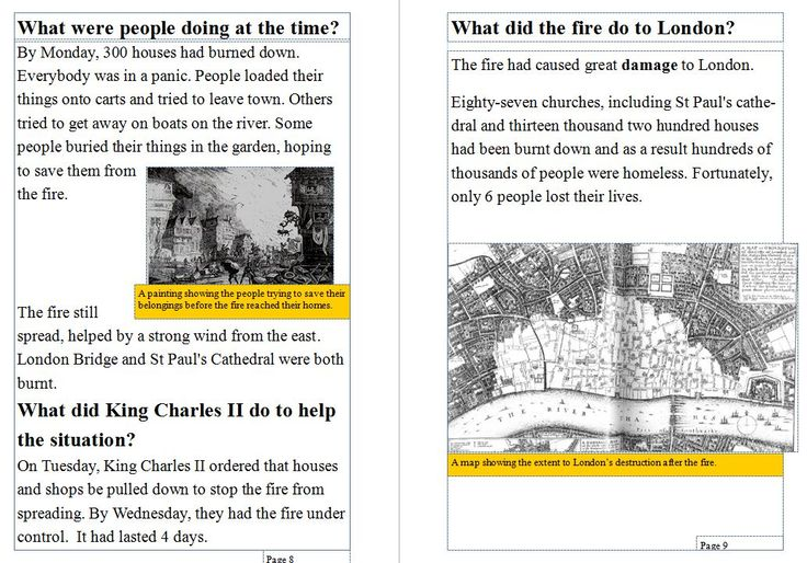 This booklet can help teach children how to use contents, headings, subheadings, captions and glossaries while learning about the Great Fire of London.