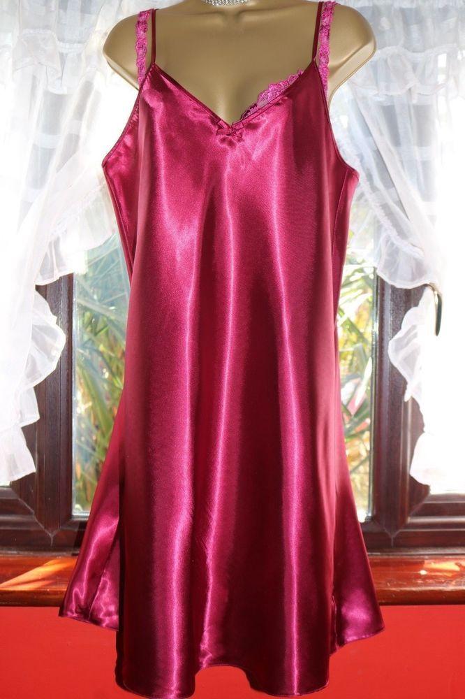BHS Ladies Sz16 Fuchsia Beautiful Glossy Liquid Satin Plain Nightie ...