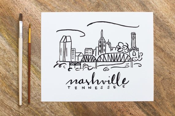 Nashville Skyline Watercolor Painting - 8x10 print