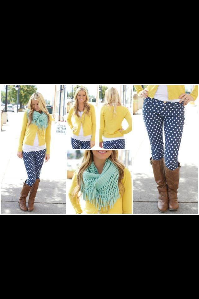 Perfect outfit to make my polka dot jeans work for fall :)