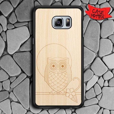 Owl Wood Texture Samsung Galaxy S6 Edge Black Case