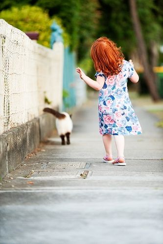 just takin' a stroll with kitty.Redheads Kids, Little Girls, Kitty Cat, Kids Redheads, Little Red, Red Hair, Redhair, Gingers Kids, Red Head