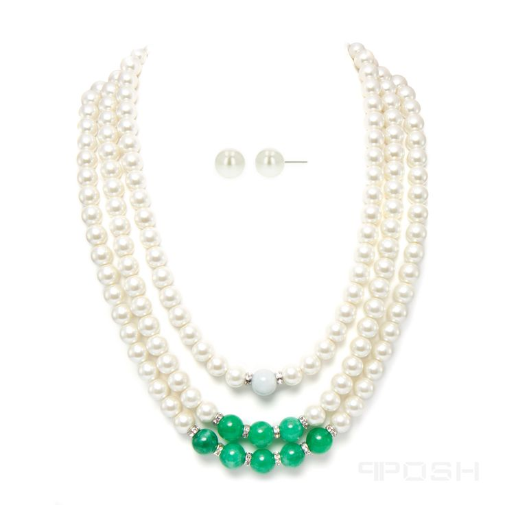 - Genuine jade, quartzite and shell pearl necklace set  - Comes with matching earrings - Made with high strength cord to prevent breakage - Embellished with clear sparkling stones  - Made with IP plated stainless steel - Lobster clasp closure - Length: 22 inch (56 cm)
