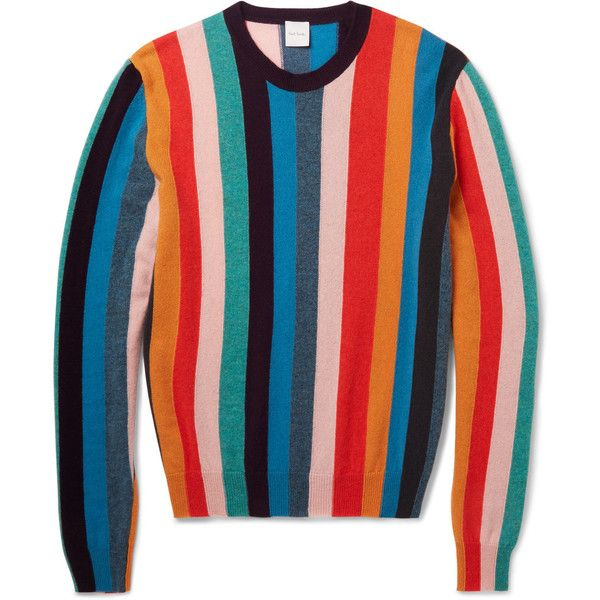 Paul Smith Striped Cashmere Sweater ($875) ❤ liked on Polyvore featuring men's fashion, men's clothing, men's sweaters, tops, mens striped sweater and mens cashmere sweaters