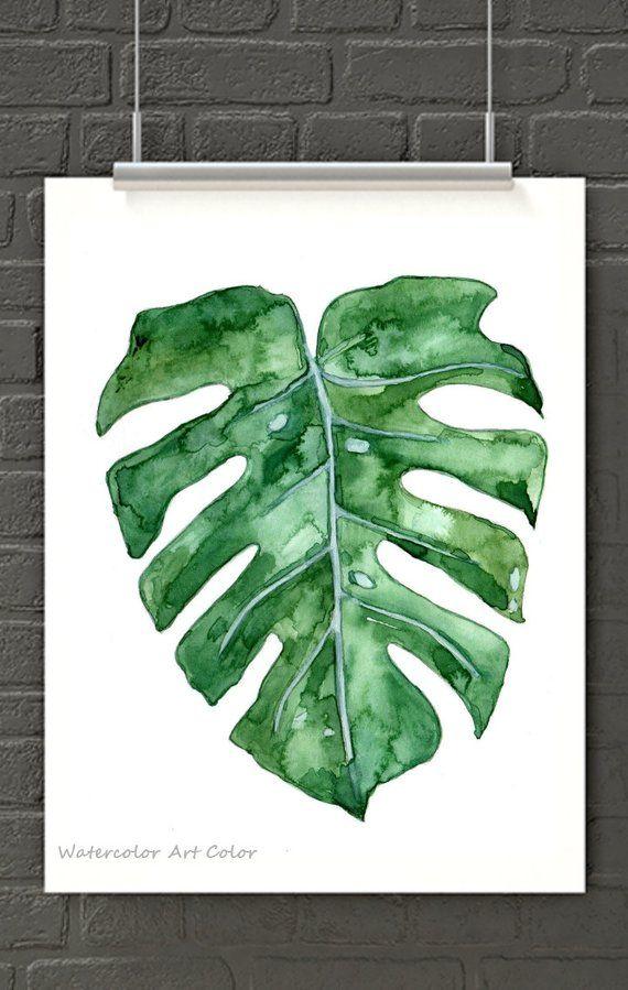 Tropical Leaf Watercolor Painting Print Monstera Leaf