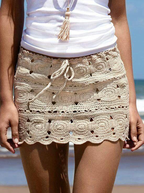 Ibiza beach style, crochet mini skirt in creme with white top…