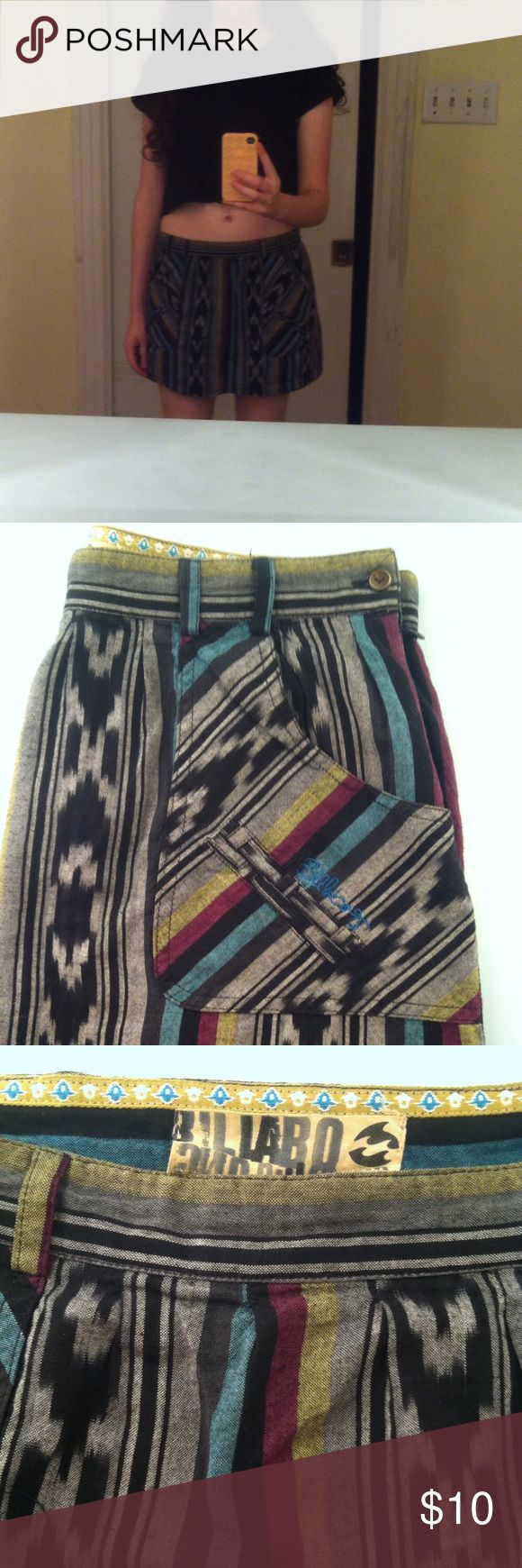 "Billabong Mini Skirt Lovely boho/Aztec print mini from Billabong. Used, like new. 13"" long. 100% cotton Billabong Skirts Mini"