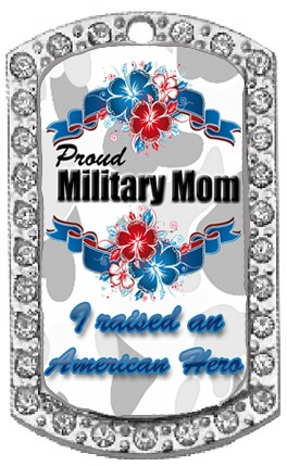 "BEST SELLER! ""Military Mom Sparkle"" Rhinestone dog tag. Comes with a 28"" chain. $24, #dogtags, #military, #jewelry,#rhinestonedogtag"
